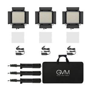 GVM-850D 40W High Beam Bi-Color and High Power RGB Video Lighting Kit 3-Video-Light-Kit