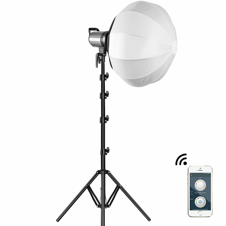 GVM-G100W 90W High Power LED Spotlight Bi-Color Studio Lighting Kit with Lantern Softbox