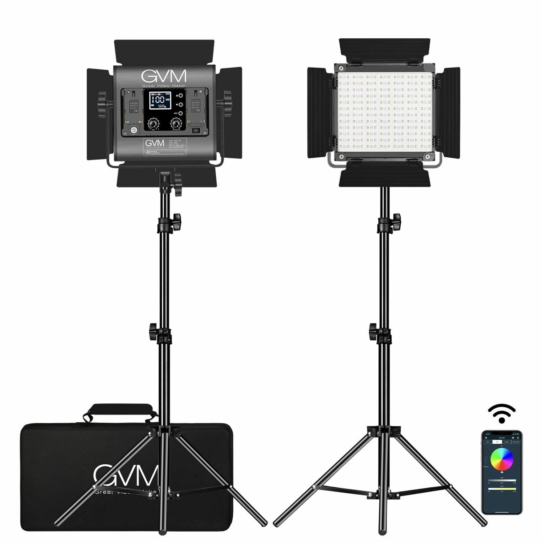 GVM-800D 40W Bi-color and RGB video panel light kit