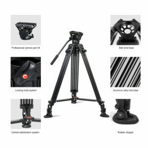 GVM Aluminum Camera Video Tripod DX16 with Fluid Head System