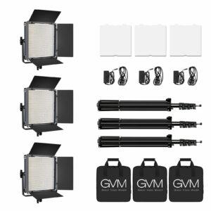 GVM LED-1200 65W Powerful Bi-color Video Panel Light Kit 3Pcs